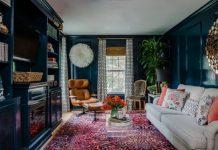 mavi oturma odası dekorasyonu